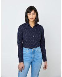 Hawes & Curtis Dobby Spots Semi-fitted Shirt - Blue