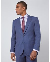 Hawes & Curtis Tailored Fit Italian Suit Pants - Blue