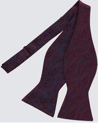 Hawes & Curtis Jacquard Paisley Self Tie Bow Tie - Purple