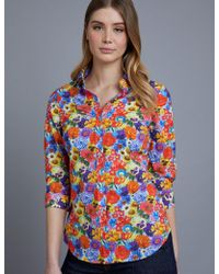 543fc1e5e06094 Hawes   Curtis - Blue Bright Floral Semi Fitted 3 Quarter Sleeve Shirt Size  2 100