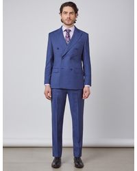 Hawes & Curtis Curtis Stripe Tailored Fit Double Breasted Italian Suit - Blue