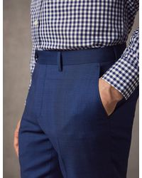Hawes & Curtis Prince Of Wales Check Slim Fit Suit In Indigo | Wool | Curtis - Blue