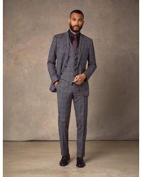 Hawes & Curtis Grey Tonal Check Slim Fit Suit