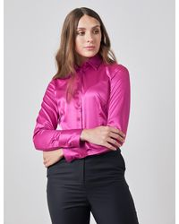 Hawes & Curtis Plain Fitted Satin Shirt In Bright Pink Size 0 Single Cuff Curtis