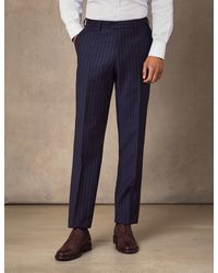 Hawes & Curtis Navy Chalk Stripe Double Breasted Slim Fit Suit - Blue