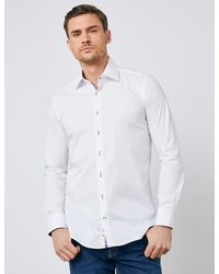 Hawes & Curtis Curtis Cotton Stretch Slim Fit Shirt With Contrast Detail - White