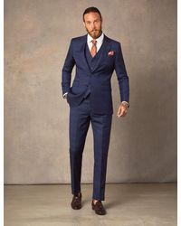 Hawes & Curtis Dark Blue Prince Of Wales Check Slim Fit Italian Suit – 1913 Collection