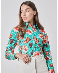 Hawes & Curtis Vintage Floral Fitted Shirt - Blue