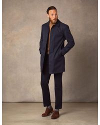 Hawes & Curtis Dark Rain Mac With Removable Lining In Navy   Size 50 Reg   Curtis - Blue