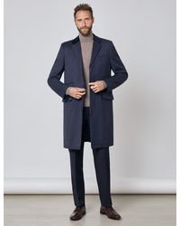 Hawes & Curtis Covert Coat - Blue