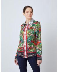 Hawes & Curtis Curtis Tropical Floral Print Boutique Satin Blouse - Green