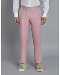 Hawes & Curtis Curtis Herringbone Linen Tailored Fit Italian Suit Trousers - Pink