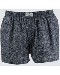 Hawes & Curtis Ditsy Floral Cotton Boxer Shorts - Blue