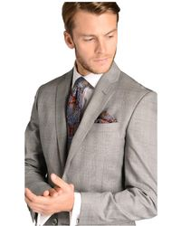Hawes & Curtis - Grey Prince Of Wales Check Slim Fit Suit Jacket Size 48 Wool Curtis - Lyst