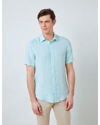 Hawes & Curtis Linen Relaxed Slim Fit Short Sleeve Shirt - Blue