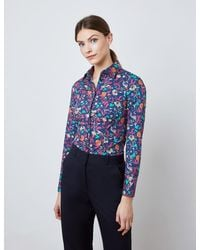 Hawes & Curtis Curtis Floral Print Fitted Shirt - Blue