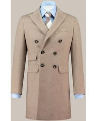 Hawes & Curtis Wool Cashmere Double Breasted Coat - Brown