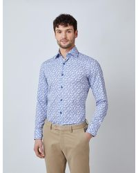 Hawes & Curtis Curtis Mini Paisley Print Diamond Weave Relaxed Slim Fit Shirt - Blue