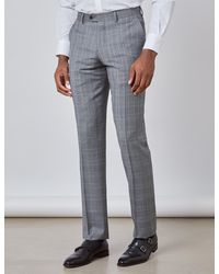 Hawes & Curtis Curtis Prince Of Wales Check Slim Fit Suit Pants - Gray