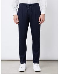Hawes & Curtis Tapered Pleated Drawstring Wool Blend Trousers - Blue