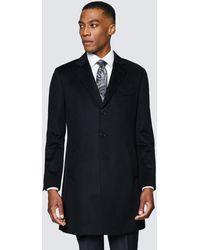 Hawes & Curtis Wool Overcoat - Black