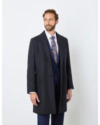 Hawes & Curtis Curtis Italian Wool Blend Overcoat - Blue