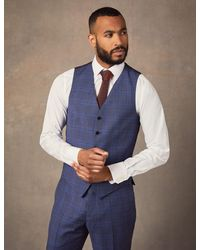 Hawes & Curtis Two Tone Check Slim Fit Waistcoat - Blue