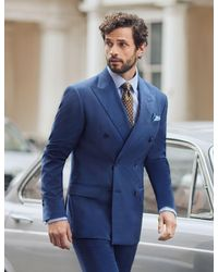 Hawes & Curtis Stripe Tailored Fit Italian Suit Pants - Blue