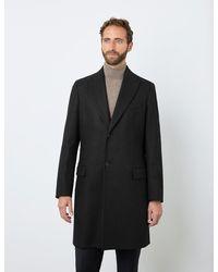 Hawes & Curtis Curtis Italian Wool Blend Overcoat - Black