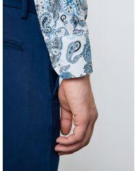 Hawes & Curtis Paisley Cotton Stretch Slim Fit Shirt - Blue