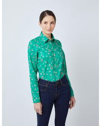 Hawes & Curtis Floral Print Semi-fitted Shirt - Green