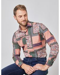 Hawes & Curtis Patchwork Piccadilly Slim Fit Shirt - Multicolour