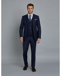 Hawes & Curtis - Navy And Red Prince Of Wales Plaid Slim Fit Suit Wool Curtis - Lyst