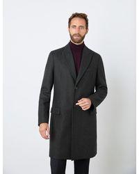 Hawes & Curtis Curtis Italian Wool Blend Overcoat - Grey