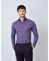 Hawes & Curtis Curtis Mini Paisley Relaxed Slim Fit Shirt - Purple
