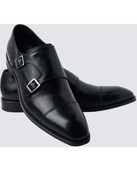 Hawes & Curtis Curtis Leather Monk Shoes - Black