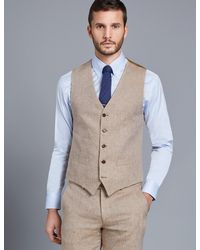 Hawes & Curtis - Beige Linen Herringbone Tailored Fit Iatlian Vest Size 46 1913 Collection By Curtis - Lyst