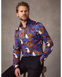 Hawes & Curtis - Electric Blue Horse Print Slim Fit Limited Edition Satin Shirt - Lyst