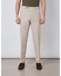 Hawes & Curtis Italian Cotton Linen Slim Fit Suit Trousers - Natural