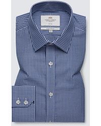 Hawes & Curtis Formal Gingham Check Extra Slim Fit Shirt - Blue