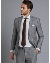 Hawes & Curtis Linen Slim Fit Suit Jacket - Grey