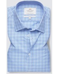 Hawes & Curtis Curtis Easy Iron Multi Check Relaxed Slim Fit Short Sleeve Shirt - Blue