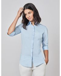 Hawes & Curtis Curtis Fitted Three Quarter Sleeve Cotton Shirt - Blue