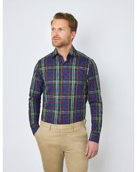 Hawes & Curtis Multi Check Relaxed Slim Fit Shirt - Blue