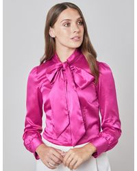 Hawes & Curtis Curtis Fitted Satin Blouse In Bright Pink Size 10 Single Cuff Pussy Bow