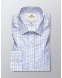 Hawes & Curtis Curtis Formal Grid Check Extra Slim Fit Shirt - Blue