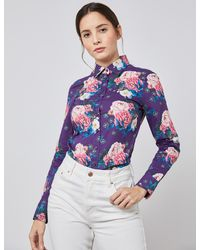 Hawes & Curtis Floral Semi-fitted Shirt - Purple