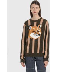 Maison Kitsuné Jacquard Fox Head Stripe Pullover - Multicolour