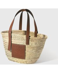 Loewe Medium Leather-trimmed Raffia Tote Bag - Natural