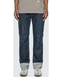 Helmut Lang Dark Cuffed Masc Hi Straight Denim Jeans - Blue